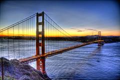 Golden Gate Bridge (Leighton Wallis) Tags: sanfrancisco california birthday ca usa sunrise dawn bay unitedstatesofamerica goldengatebridge hdr marinheadlands 75thanniversary ggnpc11