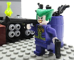The Warehouse Showdown (burnedTart) Tags: purple lego joke acid barrel harley warehouse generator illegal batman quinn joker boxes showdown brickarms