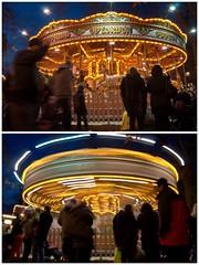 Spinning (MegMoggington) Tags: christmas city uk longexposure winter light people london collage night photoshop dark evening movement diptych december picasa carousel elements spinning hydepark dizzy winterwonderland 2011