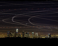 Lights Aloft, Los Angeles (magnetic lobster) Tags: california ca city longexposure night stars losangeles downtown cityscape skyscrapers aircraft airplanes multipleexposure citylights lax helicopters urbanlandscape airtraffic lightstreaks planetrails