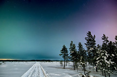 Solar storm landscape (Antti-Jussi Liikala) Tags: road winter sky snow cold colour night clouds suomi finland point nikon long exposure track horizon north january freezing arctic aurora swamp moonlight bog vanishing talvi borealis seinäjoki mire ilmajoki revontulet revontuli d7000 honkakylä revontulia ginordicjan12