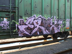 eryx -pink panther (httpill) Tags: streetart art train graffiti graf railcar boxcar railways freight eryx moniker benching freighttraingraffiti httpill