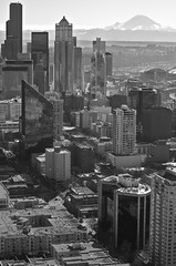 Seattle Exceeds Expectations. (azurechina) Tags: seattle camera city blackandwhite bw usa white mountain snow black building art beautiful skyline skyscraper landscape photography photo washington high nikon pretty cityscape mt image picture large megan snowcapped mount mountrainier rainier wa metropolis tall 5100 elevation picturesque capped height caplan d5100 nikond5100 azurechina megancaplan