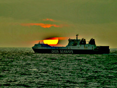 ship sea setting sun (Tadgh  Maoildearg) Tags: sunset sea sky sun photoshop ship northsea dfds seaways