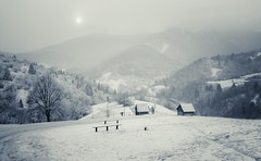 A View From Vlkolinec (Gilderic Photography) Tags: wood winter panorama sun mist snow mountains cold nature fog forest montagne bench landscape lumix soleil europe village view hiver panoramic east panasonic valley slovensko slovakia neige eastern foret froid bois brume est tatra lightroom vallee slovaquie vlkolinec brouilard gilderic