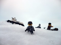This is not my kind of battle... (Rebla) Tags: winter snow tank lego wwii ww2 fp forcedperspective sdkfz251 bt5 battleofmoscow