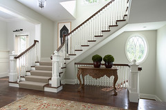 "Front Entry and Main Staircase with spiral balusters and oval window • <a style=""font-size:0.8em;"" href=""http://www.flickr.com/photos/75603962@N08/6853348335/"" target=""_blank"">View on Flickr</a>"
