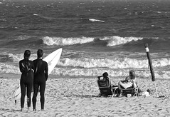separate ideas, same attraction (robertranaldo) Tags: ocean summer blackandwhite bw sun white ny newyork water monochrome composition blackwhite nikon surf surfer wave compo surfing longisland longbeach surfboard nikkor longbeachnewyork blackwhitephotos longislandnewyork 18105mm nikkor18105mm crestedwave