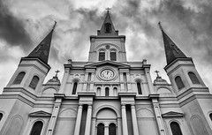 Saint Louis Cathedral (palmere22) Tags: street blackandwhite clock church clouds nikon louisiana neworleans frenchquarter jacksonsquare nola internship clinical 1685 d7100 nikond7100