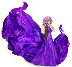 Woman Lilac Dress, Fashion Model and Flowers Artistic Spring Crown over White (noor.khan.alam) Tags: flowers portrait people woman white art nature floral girl beautiful beauty hat fashion lady female hair happy flying spring clothing model glamour long dress purple artistic wind background fulllength young silk violet posing style wave latvia clothes lilac fabric fantasy crown gown cloth waving hairstyle isolated springtime fluttering cosmetic elegance womandress