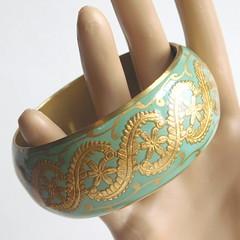Vintage Brass and Seafoam Green Enamel Bangle Bracelet (karalennox) Tags: vintage wide jewelry bracelet bangle etsy ornate brass enamel goldtone