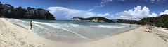 Cala Galdana from the beach (Steve Dawson.) Tags: sea beach spain sand espana spanish menorca minorca balearicislands calagaldana islasbaleares
