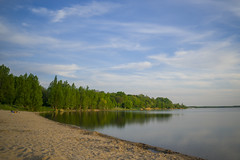 Nice Day (Moustafa Kzaiha) Tags: longexposure blue trees sky reflection green beach nature water clouds germany landscape nice day outdoor sony wide shore a7