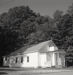 Walnut Grove Church  Stanton, Kentucky (matthew.vortex) Tags: blackandwhite church monochrome rural kentucky country ilford zonesystem anseladams stanton walnutgrove yashicamat124g aristaedu100 ilfosol3