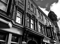 South Wales (The Vegan Taff Photography) Tags: urban blackandwhite building southwales wales architecture hotel victorian streetphotography newport blackandwhitephotography