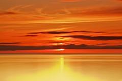 sunset, st. mary's river, ontario (twurdemann) Tags: longexposure sunset red sky orange seascape ontario colour one horizon greatlakes whitefishbay soo tranquil 30seconds northernontario rothkoesque stmarysriver sunnysidebeach neutraldensityfilter nd110 princetownship TGAM:photodesk=sunset2012