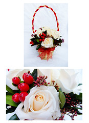 FlowerGirl Basket (Vicky Spence) Tags: winter wedding red flower rose berries grandprix bouquet skimmia baccara kirkleyhall