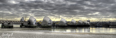 Thames Barrier (sparkeyb) Tags: city london thames reflections river flooding flood tide greenwich bank barrier lowtide tidal hdr defence woolwich hightide thamesbarrier defend cityairport photomatix flooddefence cs5 sparkeyb