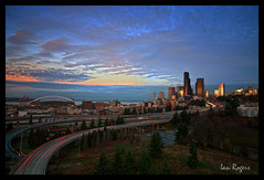 Good Morning Seattle! (* Ian Rogers *) Tags: seattle bridge sun skyline sunrise northwest ave rizal rise avenue 12thavenue 12th seattleskyline drjoserizal 12thave joserizalbridge cityofseattle rizalbridge