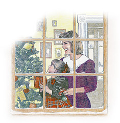 Christmas decorations (Ken Mat) Tags: christmas family winter portrait woman snow tree window girl childhood illustration pencil kid drawing room mother indoor present trimmings