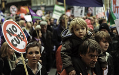 Little Striker Boy (Sven Loach) Tags: uk november boy england london public 30 canon walking demo march dad dof britain budget father crowd protest photojournalism flags nov30 explore 99 sector posters strike 5d unions nut trade cuts crisis protesters n30 placards reportage markii strikers londonist 2011 austerity 30nov
