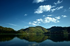 Calm afternoon (K16mix) Tags: blue sky cloud mountain lake green nature water japan landscape reflex asia flickr afternoon pentax dam symmetry da iwate   limited    tohoku 15mm  k5  touhoku      lakesurface   kinshuko  wagagun