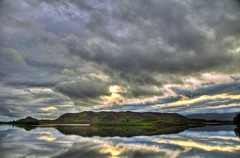 Glass Lake (mendhak) Tags: trees sunset sun lake glass night clouds landscape geotagged island evening scotland highlands land reflective loch hdr oblivion shrubbery glassy tarff mendhakwebsite geo:lat=5731684379 geo:lon=441345800