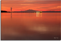 The Glow Within [Explored] (SteveFrazierPhotography.com) Tags: california sunset sky orange usa mountain reflection water beautiful night clouds landscape photography lights photo glow photographer unitedstates sundown image smoke tripod smooth picture surreal peaceful surface terminal calm steam timeexposure photograph serene 300 vallejo tranquil strait oiltanker carquinez sanpablobay refective mygearandme mygearandmepremium canoneos06d
