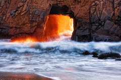 Portal to Another World (Blue Hour) Tags: ocean light sunset beach rock wall waves hole bigsur pfeiffer
