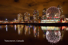 Vancouver Night Shot (Science World) () Tags: canada reflection vancouver buildings lights bc nightshot olympicvillage scienceworld m43 mirrorless microfourthirds falescreek lumix20mmf17 olympuspenep3 thevillageonfalescreek