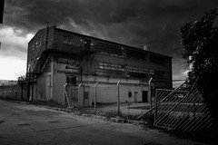 (bradclark) Tags: urban blackandwhite bw monochrome industrial factory pollution docklands industrialestate e16 knightsroad silverefex