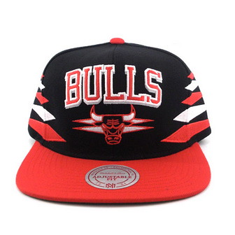 NBA Mitchell & Ness - Chicago BULLS Snapback Diamond Hats Cap Black Red