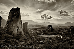 Greece, Meteora (Verian Mancina) Tags: sky blackandwhite bw white mountain nature wall landscape rocks greece geology atmospheric whitewall meteora pindos supershot verian mancina impressedbeauty canonblackwhite