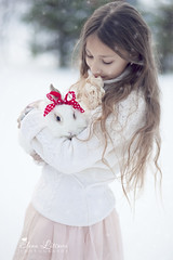 * (Elena (Litsova) Sigtryggsson) Tags: winter pet white snow rabbit bunny girl iceland child outdoor bow christmastime inthegarden myoldest