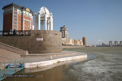 Ishim river covered with ice - Ishim River - Astana Kazakhstan (www.cevatzade.com) Tags: travel panorama architecture river photography photo gallery foto image photograph kazakhstan astana independencesquare  ishim    almatykazakhstan kazakhgirl    qazaqstan kazakhgirls ishimriver  wwwcevatzadecom ahmetcevatzade ahmadrezajavadzadeh  beautifulkazakhgirl monumentrepublicsquare   beautifulkazakhgirls
