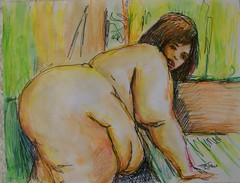 BBW- A NIght to Remember -Original Art in Frame (jeffsterling53) Tags: original portrait sexy art ass girl sex female watercolor painting breasts erotic florida fat femme bbw mulher butt mami mama curvy hips thighs booty massive anatomy impressionism strong bella latina cleavage plump impressionist obese blubber statuesque cellulite aquarelles fleshy nalgas muje
