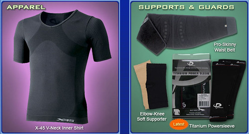 Apparel and sports supports & guards is also part of the Phiten line