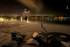 New Year's Eve in Kuopio (Petri Karvonen) Tags: new city eve longexposure light tower ice nature water glass rock night zeiss finland eos lights evening rocks cityscape 21 fireworks year firework filter 09 lee nd pro filters atnight f28 kuopio torni ze 2012 density neutral 21mm carlzeiss puijo canoneos5d kallavesi puijon virtualjourney distagont2821 distagon2128ze zeisscontest2011