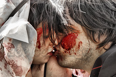 Kiss of Death (Lee Collings Photography) Tags: people love newcastle blood kiss kissing married lovers murder zombies justmarried affair jealousy tilldeathdouspart smooch partners puckerup smooching partnersincrime murderers loveaffair kissofdeath deathkiss coveredinblood blooddrenched newcastlezombiewalk newcastlezombiewalk2011