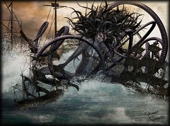Capture of the octopus monster (~Yasmina Siamendes~) Tags: ocean light sea woman storm art wet water monster sepia digital photoshop germany dark painting mar agua waves barco ship arte barcos kunst ships award stormy manipulation fave sl spanish fantasy secondlife views brushes favourites tormenta octopus faves 100 luebeck seamonster lbeck schiffe tentacles oceano pulpo fantasie kraken knstler splashes pinsel ozean krake strmisch yasminasiamendes strmischerozean digitaleszeichnen digitaleknstler