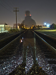 Always waiting... (TRUE 2 DEATH) Tags: longexposure railroad morning selfportrait me train lights trains railcar railways railfan benching ricohgriv ocfair2012 myricohgrivatnight
