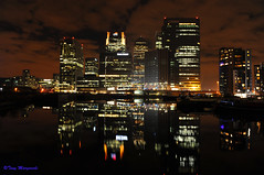 Docklands, London, 2012 (Tony Margiocchi (Snapperz)) Tags: city longexposure greatbritain trip england money london nature night reflections fun lights mirror nikon exposure colours power skyscrapers tripod towers docklands cti financial hsbc waterside banks d3 banking barclays manfrotto cit aperturepriority bankers canarywharfe tonymargiocchi nikond3 2470mmf28g hccity 1canarywharfe