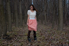 Coral Pink Skirt (Emily Rachel Poisel) Tags: pink trees winter white cold leaves coral