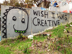 Wish I Was Creative (Viajante) Tags: streetart art monster wall austin graffiti mural texas message unitedstates baylorstreet