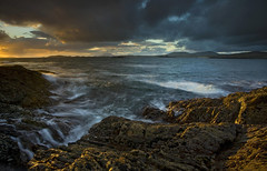 Killary Bay, Galway, Ireland (Chris Rutter1) Tags: sunset sea seascape water clouds evening rocks waves moody stormy