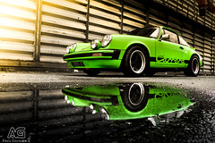 Porsche 2L7 Carrera - Reflection (Alexis Goure) Tags: auto alexis france reflection car canon french automobile 911 automotive reflet german coche porsche 27 rs verte carrera wagen allemande 2l7 goure sixela alexisgoure