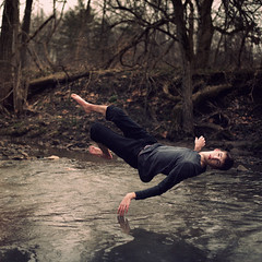 24/366 (Cameron Bushong) Tags: trees man cold water self stream bokeh fingers levitation ripples hypothermia