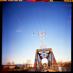 Power, Bird, Bridge (Beaulawrence) Tags: park camera old railroad bridge winter sky urban canada color colour bird tower fall industry 120 6x6 film animal vancouver analog train vintage river square lens toy island high fantastic lomo lomography 60s iron industrial december bc power angle decay wildlife flash grain tracks rail columbia richmond scan retro line pole plastic negative diana f 400 rails roll british medium format asa fraser mitchel tension portra remake reproduction span 2011 sooc