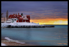 Point Betsie Winter Sunset with black border, Nicole Wamsley (Through My Eyes, (astra.amara)) Tags: sunset sun lighthouse lake snow ice beautiful clouds michigan photographers lakemichigan icy redbarn frankfort pointbetsie ptbetsie rockhunting benziecounty rockhound michiganwinter iceforms awesomesunset puremichigan nicolewamsley nikkiwamsley astraamara