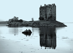Castle Stalker and three birds (kenny barker) Tags: winter sea castle water birds landscape lumix argyll cyan loch castlestalker lochlaich coastuk panasonicgf1 welcomeuk kennybarker